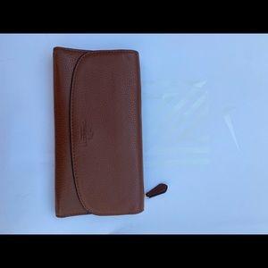 Authentic Coach 2 Piece Leather Travel Wallet Set